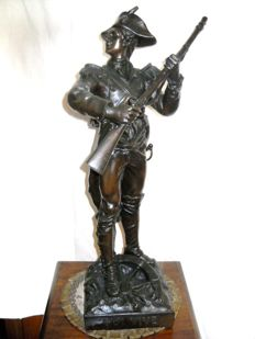 Adrien Étienne Gaudez (1845-1902) - bronze sculpture of a French soldier - late 19th century