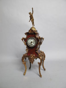 original antique french simulated tortoiseshell mantel clock 19th century