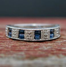 Silver 925 ring with diamonds (0.12 ct) and sapphires (0.4 ct) - size 6.5