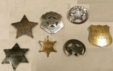 Collection of 7 metal Sheriff badges - replicas