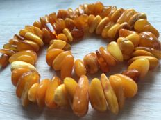 Old Russian Baltic Amber, 100% natural amber beads, egg yolk colour, Kaliningrad area,  75 grams