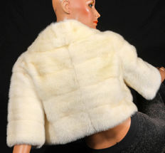 Bridal coat bolero light colour mink coat fur coat striped horizontally