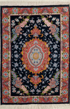 TÄBRIZ with Silk-Handknotted/Persian/ORIENTAL/ - Täbirz-Carpet  91 x 60 IRAN Around 1980