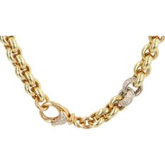 Yellow gold Jasseron link chain with two white gold clasps and a yellow gold clasp - set with 56 diamonds - total of 0.56 ct - 54 grams