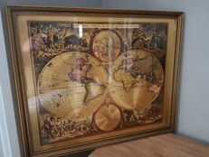 Artist's vintage reproduction of an old map of the world: Nova ORBIS TABVLA LUCEM EDITA  F. de Wit