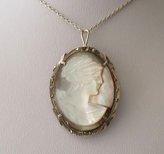 """925 Silver Mother of Pearl Cameo Brooch-Pendant With Chain, length: 16"""" in"""