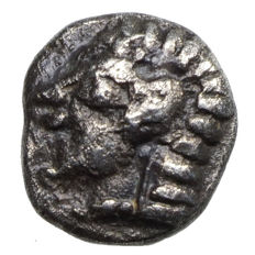 Ancient Greece - Ionia - colophon (530-500 BC) AR Tetartemorion, head