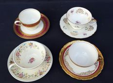 Lot of 4 cups and marked saucers, numbered, Bavaria Germany - ca 1901-1939