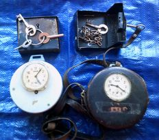 "2 Pcs Very big heavy classic watchman old control watch ""JESGUS"" Mod.49 + leather cover + Key Set"