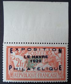 France 1929 - Le Havre Philatelic Exhibition, 2f (+5f), orange and greenish-blue, signed Calves with digital certificate - Yvert no. 257A.