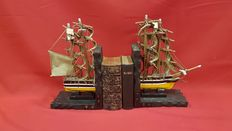 Ship bookends with canvas sails and wooden details