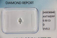 Diamond: round brilliant, 0.50 ct  D – VVS2 – IGI