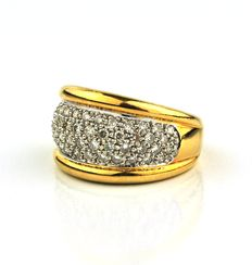 Yellow Gold Ring Pavé with diamonds 1.00 ct  -  E.U Size 53 resizable