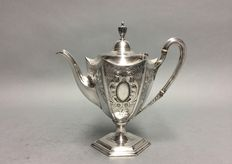 Antique silver plated, hexagonal, tea pot with floral decoration, D&A, England, ca. 1880
