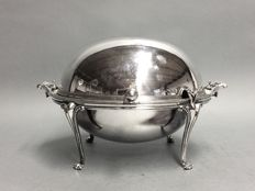 Silver plated oyster dish on claw feet, England, ca 1915