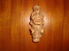 Taino Greater Antilles - Inhaler / snuffer - light brown carved and polished stone - Cohoba ceremony - 100 mm x 45 mm