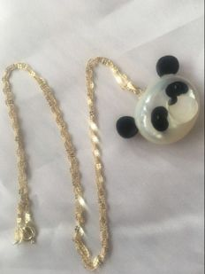 Ladies gold jade panda necklace 50.45 Cm ,Pendant 21x31 mm ***no reserve***