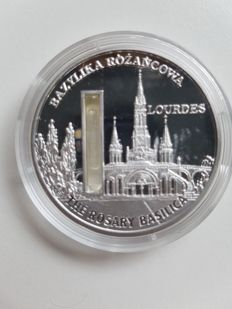 "Sierra Leone – 10 Dollars 2009 ""Lourdes"" with holy water – 1 oz silver"