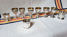 Beautiful Set of Nine Sterling Silver Egg Cups, Minerva's head 1st grade, French craftsmanship