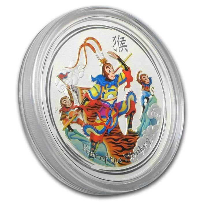 Australia - 8 dollars-2016 ' Monkey King' - 5 oz silver with colour - special edition
