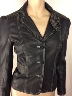 Moschino Cheap & Chic, tailored fit leather jacket.