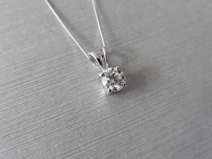 Platinum Diamond Pendant and 18k Gold Necklace - 1.00ct  G  I1