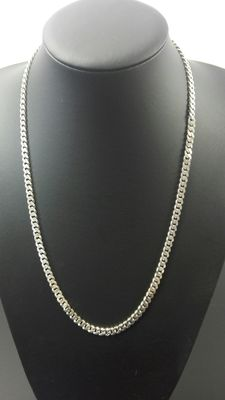 Silver curb link necklace, 925k. Length: 60.4 cm, width is: 0.5 cm, Weight: 37.71 g