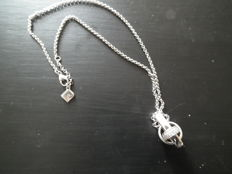 925 silver, 42 cm long necklace with a pendant, both marked Pierre Cardin