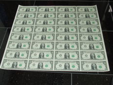 US - 1 dollar 2009, complete and uncut sheet of 32 bills