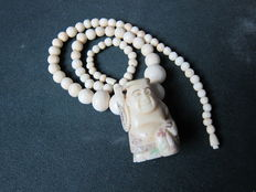 Japanese, Buddhist, ivory necklace.