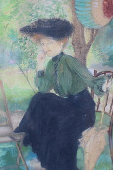Monogrammed E.A.v.B. - Vrouw op stoel in het park (Woman on Chair in the park)