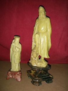 2 soapstone scuptures, 'Wise Man' and 'Warrior' – China – First half of the 20th century