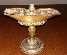 Embossed brass incense boat, 18th / 19th century
