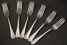 Antique silver plate set of six forks, Made in Sheffield ca.1940 , Oliver & Bower Ltd