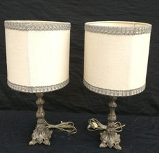 A pair of bedside lamps in silver plated brass - Italy, Venice, late 19th century