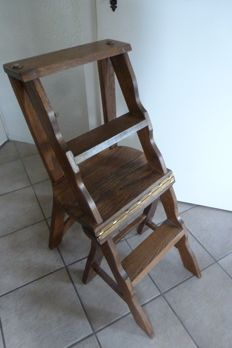 Oak library chair / step - ca. 1960 - the Netherlands