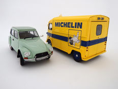 Solido - Scale 1/18 - Lot with 2 models: Citroën Type HY 'Michelin' 1969 van and Citroën Dyane 6 1967 - Jade Green