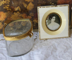 Oil on ivory miniature and a crystal box - France - second half of the 19th century