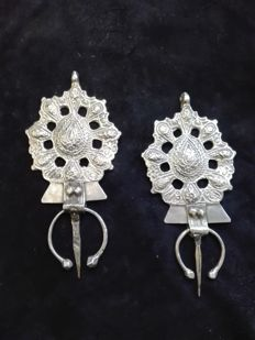 Pair of silver Beber fibula - Morocco - mid 20th century