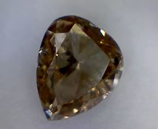 Pear-cut deep brown VS2 diamond of 0.68 ct, with IGL certification.