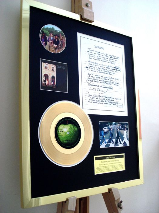 "The Beatles Something 7"" Single Gold Plated Record + Hand-Written (print) Lyrics Record Display"