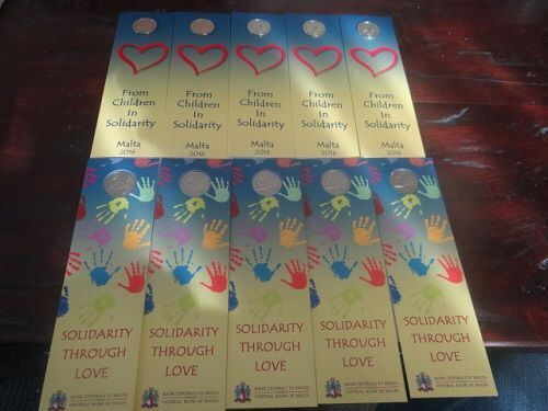"Malta - 2 Euro 2016 ""Solidarity Trough Love"" (10 pieces) in coin cards"
