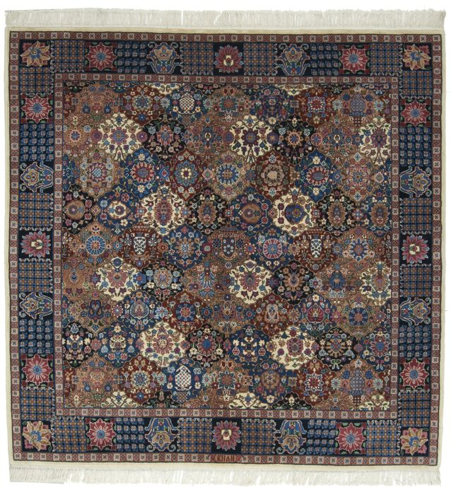 Antique rug from Peking (Beijing), China (Hand-knotted, wool), dimensions: 200 x 200 cm, with certificate from official appraiser (Galleria Farah 1970)