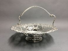 Large silver plated chocolate dish with open work decoration, England, ca 1900