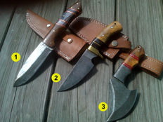 2 x Damascus hunting knife/camping/ Outdoor & 1 x small Damascus steel - axe - 21st century - handmade & 100 ml camellia care oil