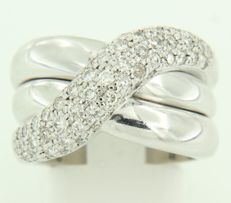 18 kt white gold ring set with brilliant-cut diamonds, ring size 16.75 (52)