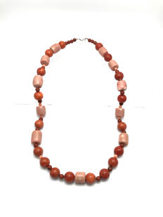 Vintage Coral / Chalcedony / Chabazite necklace