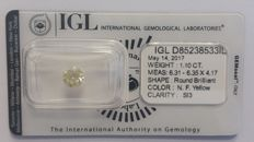 1.10ct ROUND NATURAL FANCY YELLOW IGL -NO RESERVE
