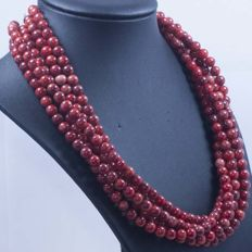 Necklace composed of coral beads and 925/1000 silver – weight: 134 g – no reserve