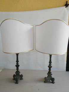 Pair of bronze table lamp with fabric shades - First half of the 20th century
